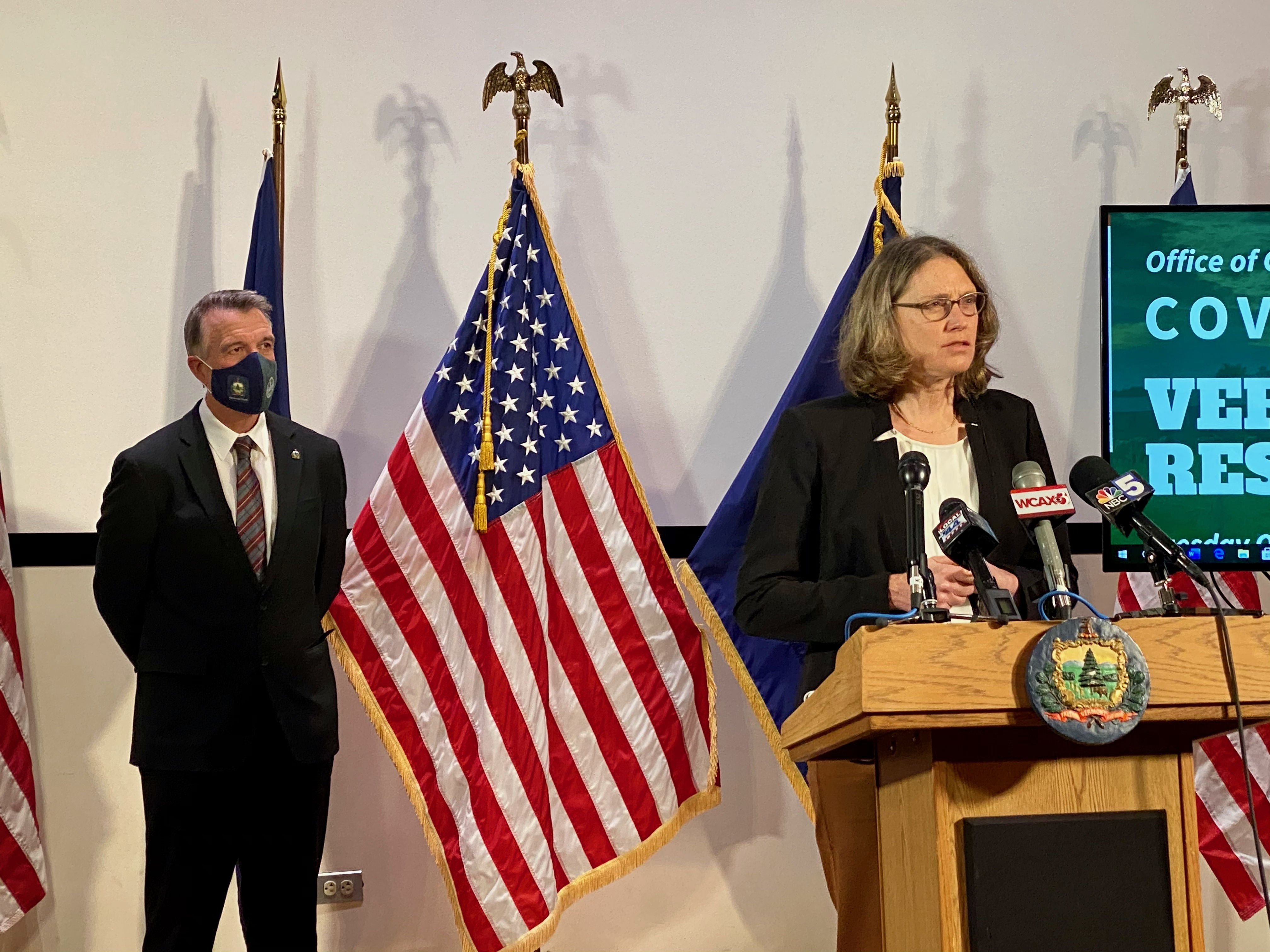 Beth Kirkpatrick, M.D., makes an announcement at Governor Phil Scott press conference